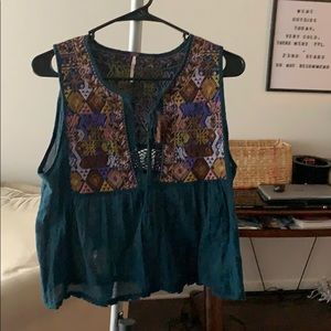 Free people blue tank with embroidery